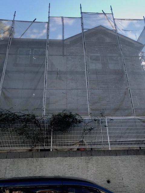 神奈川県茅ヶ崎市 外壁塗装 屋根塗装 足場設置 飛散防止ネット(メッシュシート)